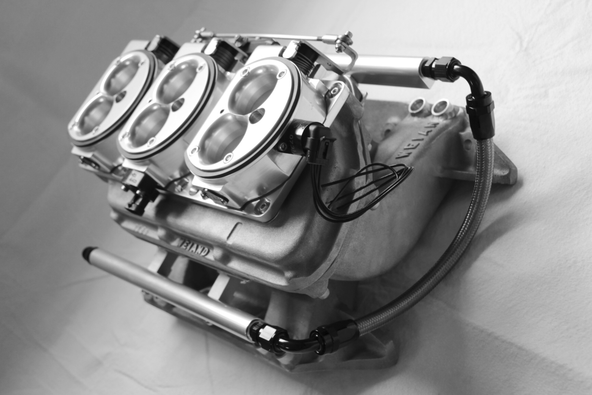 ae69108c4 Weiand Two Piece Six Pack Super Stock Manifold Converted to Multi-point EFI